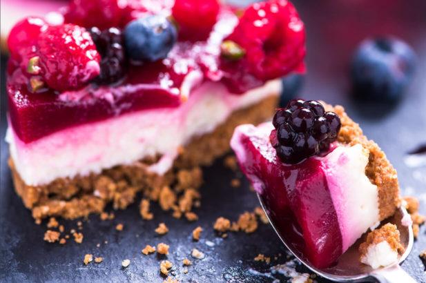 Rezept Beeren-Mascarpone-Torte kalorienarm, Beerentorte, Mascarponetorte, Himbeertorte, Brobeertorte, Waldbeertorte, zuckerfrei