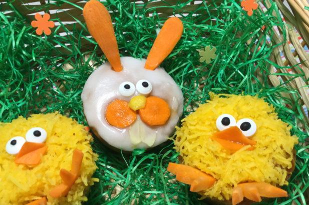 Karottenmuffins mit Birkenzucker, Hasenmuffins, Kükenmuffins, Ostermuffins, zuckerfrei, ohne Zucker