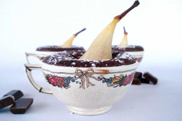 Birnenküchlein mit Zartbitterschokolade, zuckerfreie Schokolade,zuckerfrei, mit Xylit, mit Birkenzucker, zuckerfrei