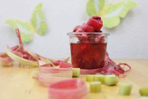Zuckerfreies Kompott, Rhabarberkompott mit Erdbeeren, Erdbeerkompott mit Rhabarber, Fruchtkompott