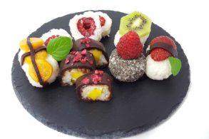 Obstsushi, Süßes Sushi, Sushi mit Früchten, Zuckerfreies Fruchtsushi, Sushi mit Schokolade, Besondere Desserts