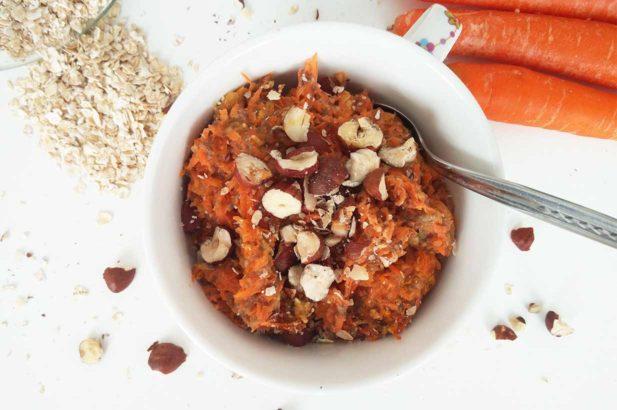 Baked Oats, Karottenkuchenbrei, Haferbrei mit Karotte, Carrot Oats, Carrot Cake Oats, Haferbrei mit Karotte, zuckerfrei, ohne Zucker