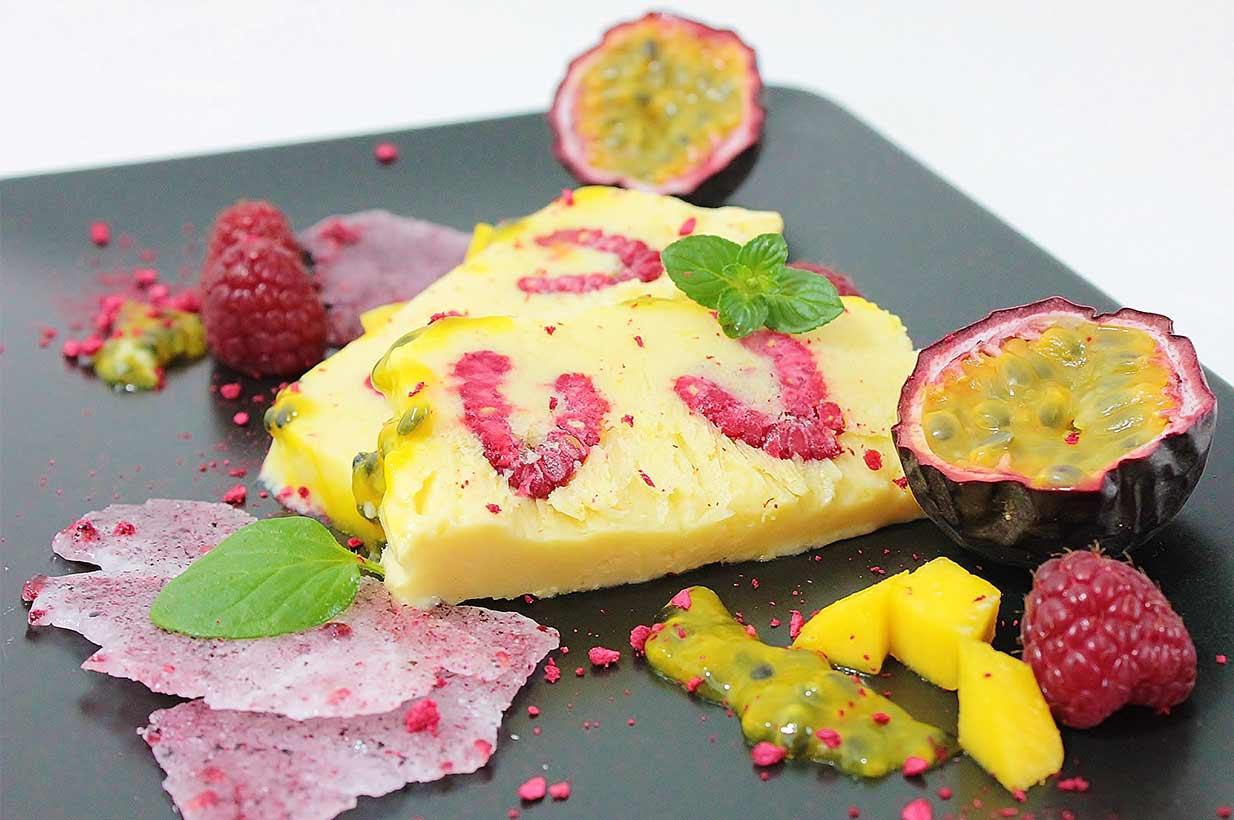 Mangoparfait, Maracujaparfait, Passionsfruchtparfait, Exotisches Parfait, Halbgefrorenes, Fruchtparfait, ohne Zucker, zuckerfrei