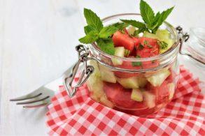 Melonensalat, Gurkensalat, Melone mit Gurke, Fruchtiger Salat, zuckerfrei, ohne Zucker