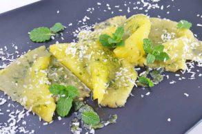 Ananasscheiben, Ananasdessert, Fruchtcarpaccio, Süßes Carpaccio, zuckerfrei, ohne Zucker