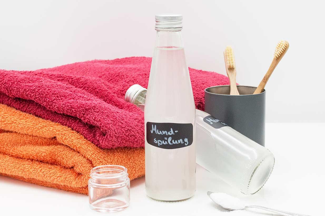 Mundwasser, Zahnspülung, DIY, Xylit-Spülung, zuckerfrei, ohne Zucker