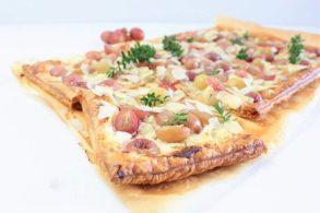 Pikante Tarte, Tarte mit Trauben, Fetatarte, zuckerfrei, ohne Zucker