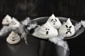 Vegan Meringues, Halloween Meringues ohne Ei, Halloween Geister, Zuckerfreier Baiser