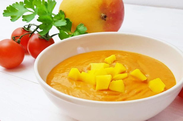 Paradeissuppe, Tomatensuppe, Mangosuppe, Exotische Suppe, Lauwarme Suppe
