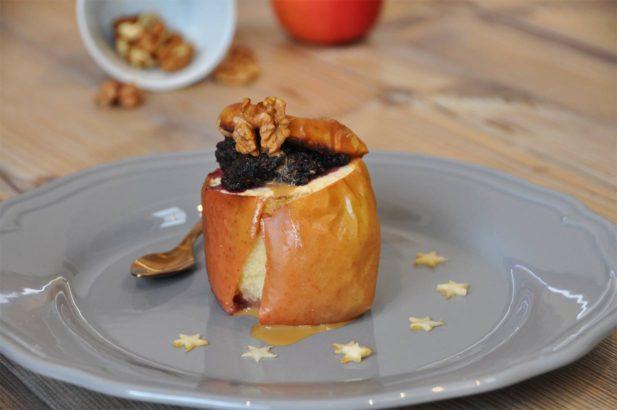 Rezept Bratapfel mit Marmelade, Nuss-Bratapfel, Ofenapfel, Heißer Apfel, zuckerfrei, ohne Zucker, vegan