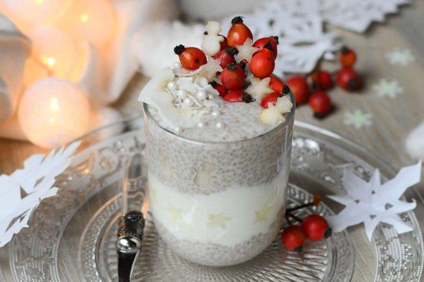 Chia Dessert, Joghurt Chia Pudding, Chia Pudding, Joghurtdessert, Birnendessert, Chia Parfait, zuckerfrei