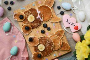 Osterfrühstück, Osterbrunch, Easter Pancakes, Hasen Pancakes, Tierpancakes, Tierpfannkuchen, Hasenpfannkuchen, Kinderpfannkuchen, glutenfrei, zuckerfrei