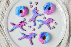 Unicornkekse, Unicorncookies, Mürbteigkekse, Bunte kekse, zuckerfrei, ohne Zucker