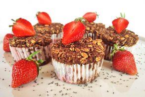 Erdbeermuffins, Hafermuffins, Chiamuffins, Muffins ohne Mehl, Vegane Muffins, Glutenfreie Muffins, zuckerfri, ohne Zucker