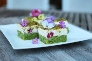 Spinatkuchen, Matchacake, Grüner Kuchen, Green Cake, zuckerfrei