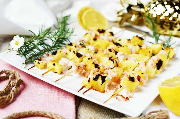 Shrimpsspieße, Ananas-Garnelen Spieße, Garnelen-Ananas Spieße