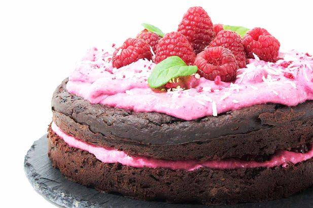 Schokoladenkuchen, Schoko-Himbeerkuchen, Himbeercremekuchen,