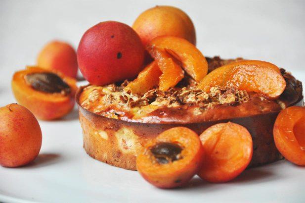 Oat Cake, Haferflocken-Marillen Kuchen, Haferflockenkuchen mit Aprikose