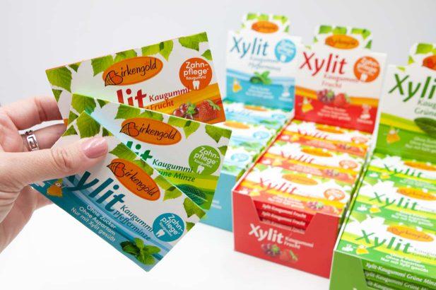 Xylit Kaugummi ohne Zucker, zuckerfrei, Birkengold