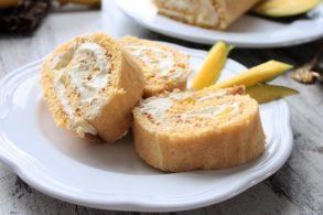 Roulade mit Mangostückchen, Mango-Roulade