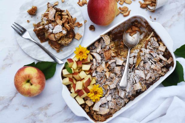 Apfelkuchen zuckerfrei, Dinkel-Hafer Apfelkuchen ohne Zucker, zuckerfreier Apfelkuchen