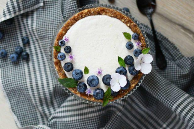 Käsekuchen vegan mit Mandel, Mandelcheesecake ohne Zucker, Mandelkuchen zuckerfrei, Cheesecake vegan