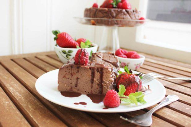 Schoko Cheesecake zuckerfrei und vegan, Zuckerfreier Schoko Cheesecake vegan, Veganer Cheesecake mit Schoko