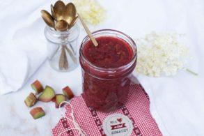 Rhabarber Marmelade zuckerfrei, Zuckerfreie Rhabarber Marmelade, Rhabarber Marmelade, Rhabarber-Hollunder-Marmelade zuckerfrei