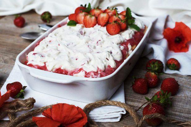 Erdbeer Tiramisu ohne Zucker, Erdbeer Tiramisu low fat, Erdbeer Tiramisu mit Birkenzucker